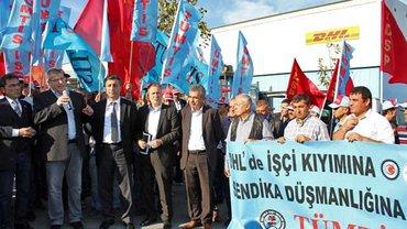 Protest vor dem DHL -Auslieferungszentrum