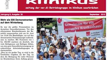 Im September 2015 erschien die 33. Ausgabe der Betriebszeitung der ver.di auf dem Saarbrücker Winterberg