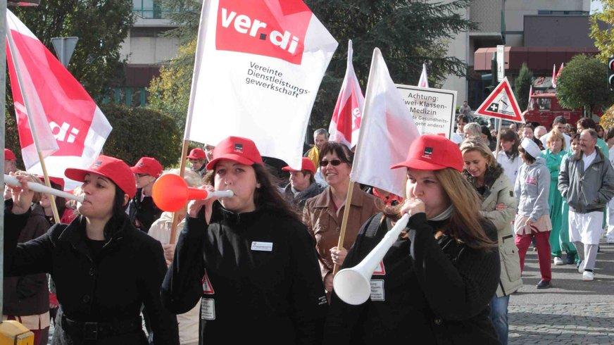 Demonstration der Beschäftigten des Krankenhauses Sulzbach 2010