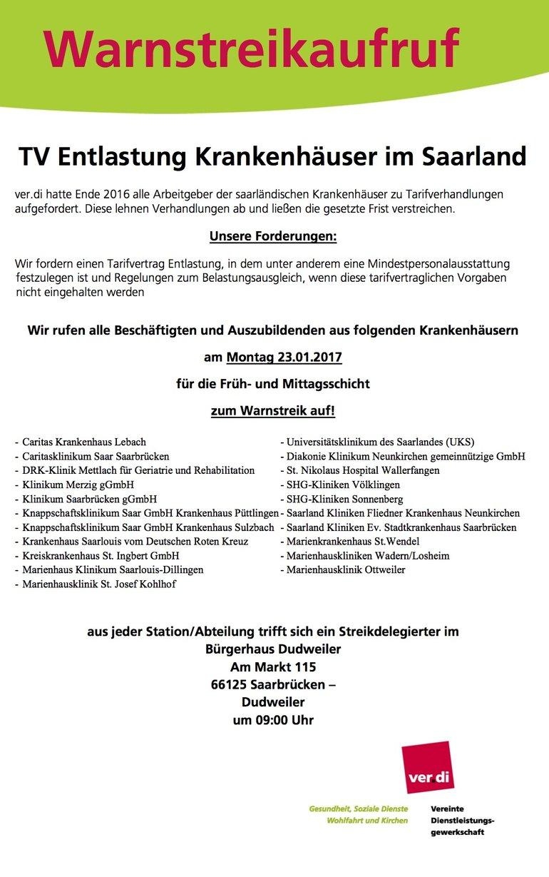 Der Streikaufruf für den 23.1.2017
