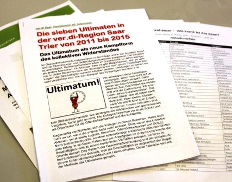 Unterlagen - besonders gefragt die Erfahrungen mit dem Ultimatum