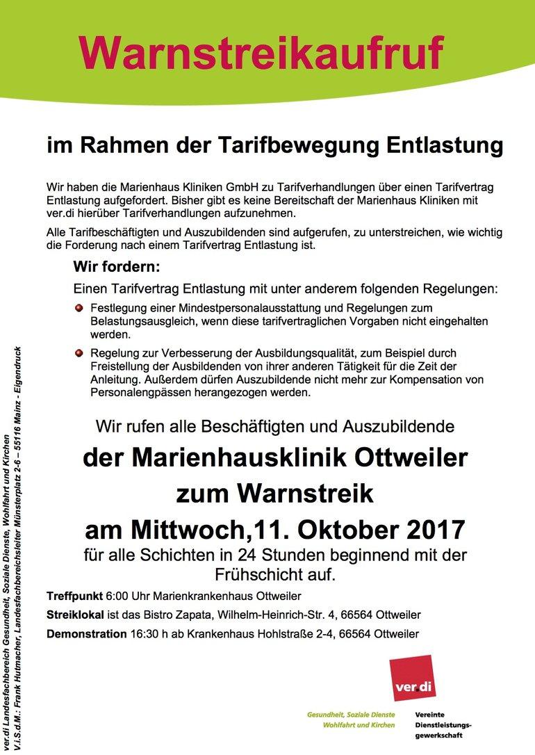 Streikaufruf MKH Ottweiler am 11.10.17