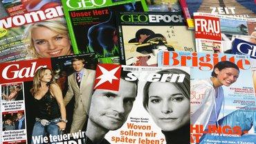 Zeitschriften-Palette des Verlages Gruner + Jahr