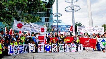 LSG-Beschäftigte aus Deutschland, den USA und England wollen nicht verkauft werden
