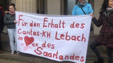 Protest gegen die Krankenhausschließung in Lebach