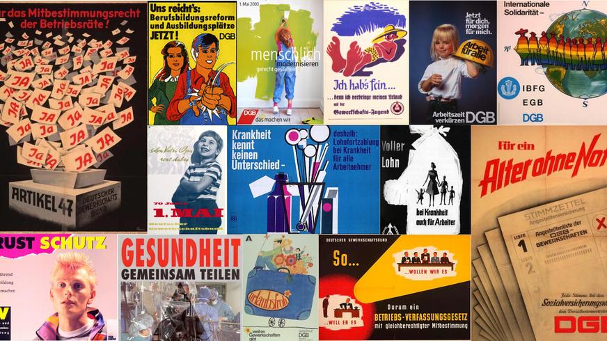 Collage verschiedener 1. Mai  Werbeplakate des DGB mit den Errungenschaften der Gewerkschaften