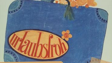 """1. Mai Plakat des DGB zum Thema Urlaub mit der Zeichnung eines Reisekoffers auf dem """"Urlaubsfroh"""" steht, ergänzt um den Satz: """"Bezahlter Urlaub im Gesetz seit 1963"""" und dem ver.di Logo des Bezirks Region SaarTrier"""